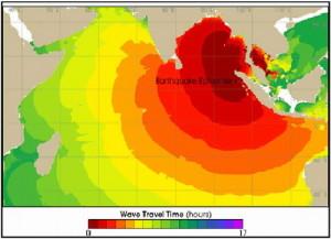 Kecepatan dan waktu tempuh gelombang tsunami yang terjadi oleh gempabumi tanggal 26 Desember 2004 dengan pusat gempa di pesisir sebelah utara pulau Sumatra