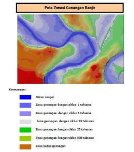 Klasifikasi bencana banjir yang disajikan dalam bentuk peta Zona Genangan Airdengan siklus genangan 1 tahunan, 5 tahunan, 10 tahunan, 25 tahunan, dan 100 tahunan serta zona bebas genangan